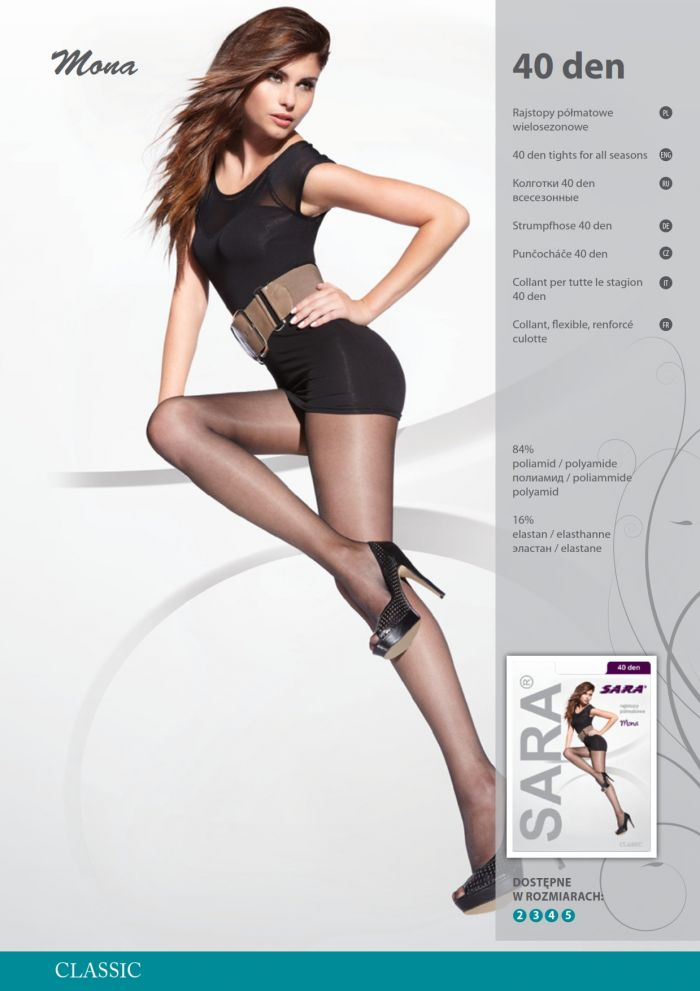 Sara Mona 40 Denier Thickness, Catalog | Pantyhose Library