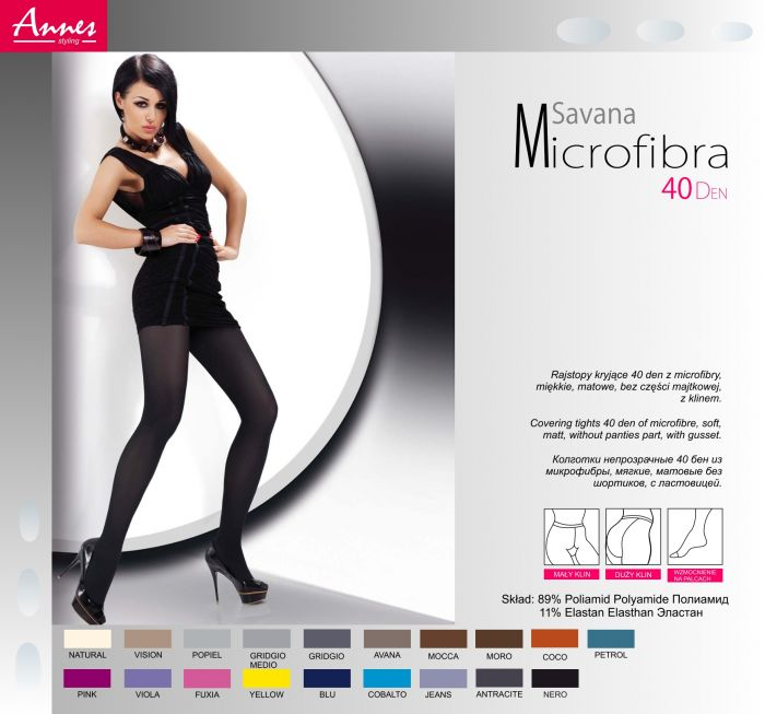 Annes Savana Microfibra 40 Denier Thickness, Styling | Pantyhose Library