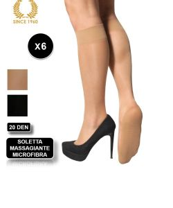 6 x knee high with comfort sole in microfiber-20 den