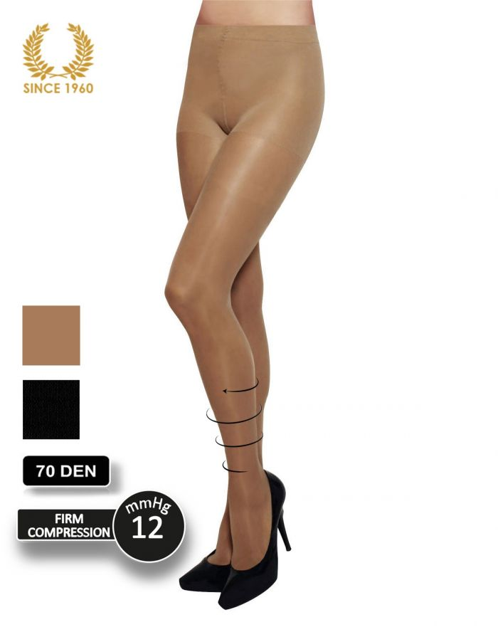 Calzitaly Firm Support Tights Factor 10 - 70 Den Front  Support Hosiery | Pantyhose Library