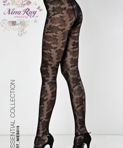 Nylon Lace Flowers all Over Tights - 40