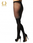 mock suspender tights with silver stripes -20-40 den back