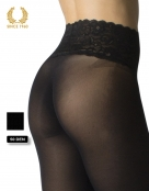 opaque seamless tights with lace top -50 den back detail