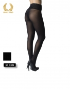 opaque seamless tights with lace top -50 den back