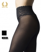 opaque seamless tights with lace top -50 den detail side