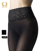 opaque seamless tights with lace top -50 den front detail
