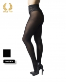 opaque seamless tights with lace top -50 den side