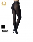 opaque seamless tights with lace top in lurex -15 den back