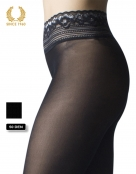 opaque seamless tights with lace top in lurex -15 den side detail