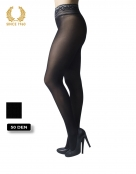 opaque seamless tights with lace top in lurex -15 den