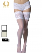 bridal hold ups with wide floral lace -15 den white front