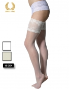 bridal hold ups with wide floral lace -15 den