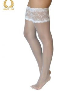 bridal lace top hold ups -15 den white side