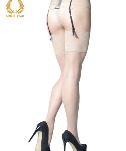 bridal stockings with wide floral lace -15 den back