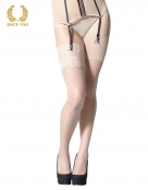 bridal stockings with wide floral lace -15 den creme front