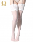 bridal stockings with wide floral lace -15 den front