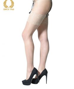 bridal stockings with wide floral lace -15 den side