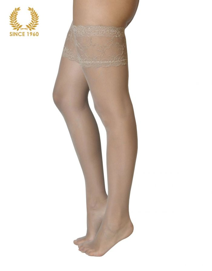 Calzitaly Bridal Lace Top Hold Ups -15 Den Natural Side  Bridal Tights 2017 | Pantyhose Library