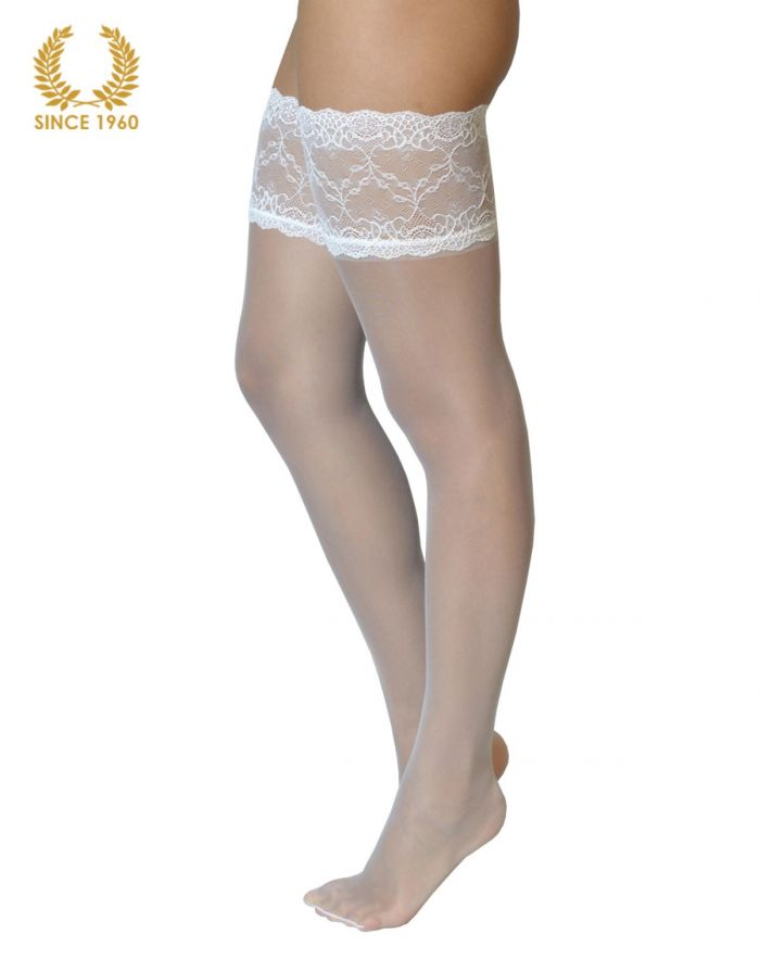 Calzitaly Bridal Lace Top Hold Ups -15 Den White Side  Bridal Tights 2017 | Pantyhose Library